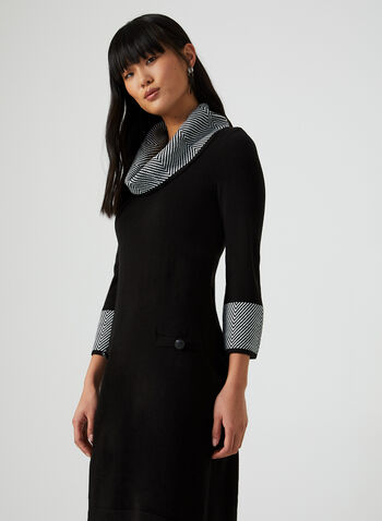 Chevron Print Cowl Neck Sweater Dress, Black, hi-res,  sweater dress, chevron print, print, dress, print dress, knit, cowl neck, fall 2019, winter 2019