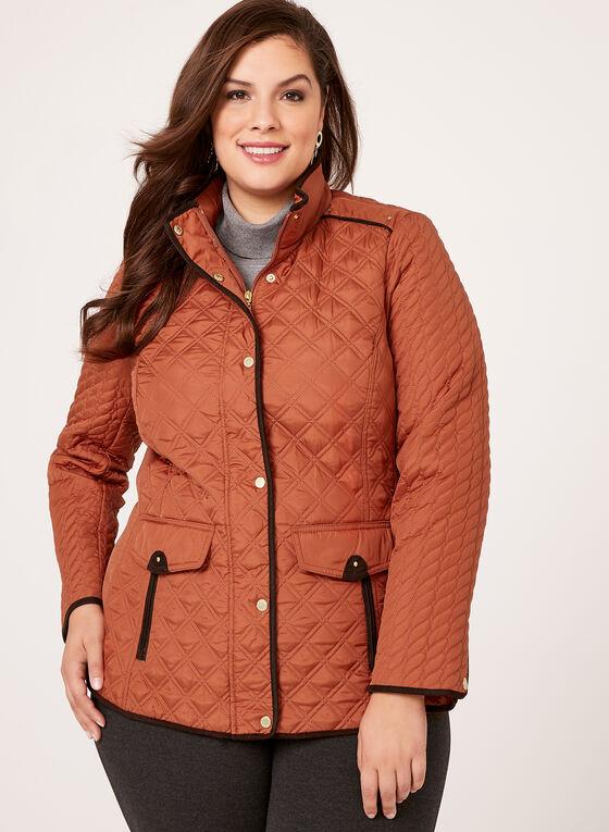 Weatherproof - Diamond Quilted Hooded Coat, Orange, hi-res