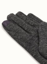 Leather Trim Knit Gloves, Grey, hi-res