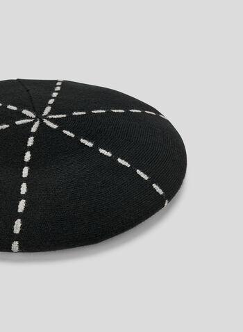 Contrast Stitch Knit Beret, Black, hi-res