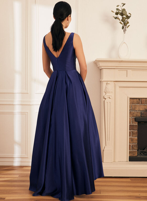 Satin High Low Ball Gown, Blue
