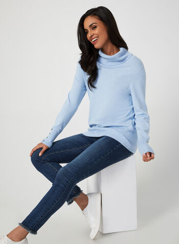 Cowl Neck Sweater, Blue,  fall winter 2019, cowl neck, long sleeves, sweater, knit