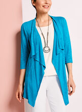 3/4 Sleeve Cascade Front Cardigan, , hi-res