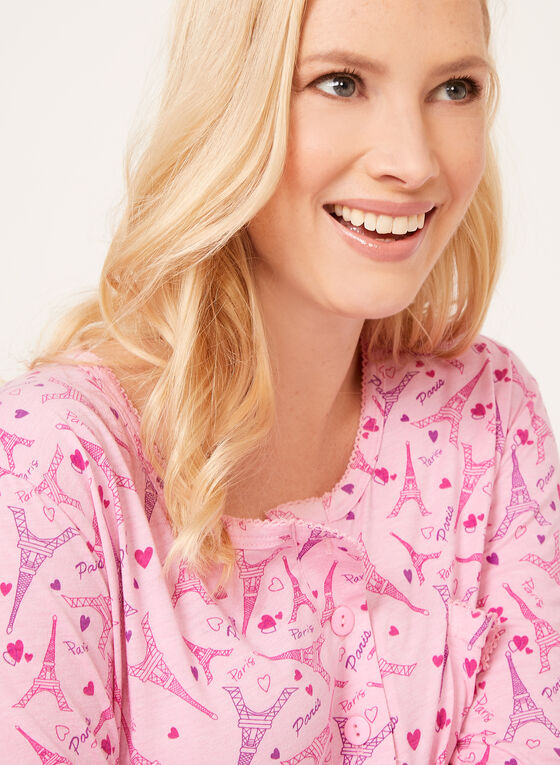 Bellina - Eiffel Tower Print Nightshirt, Pink, hi-res
