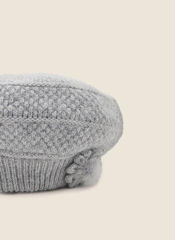 Bonnet en tricot avec fleur en fourrure , Gris,  fourrure, détail, fleur, chapeau, bonnet, tricot, automne hiver 2020