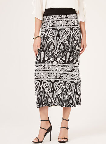 Paisley Print Pull-On Skirt, Black, hi-res