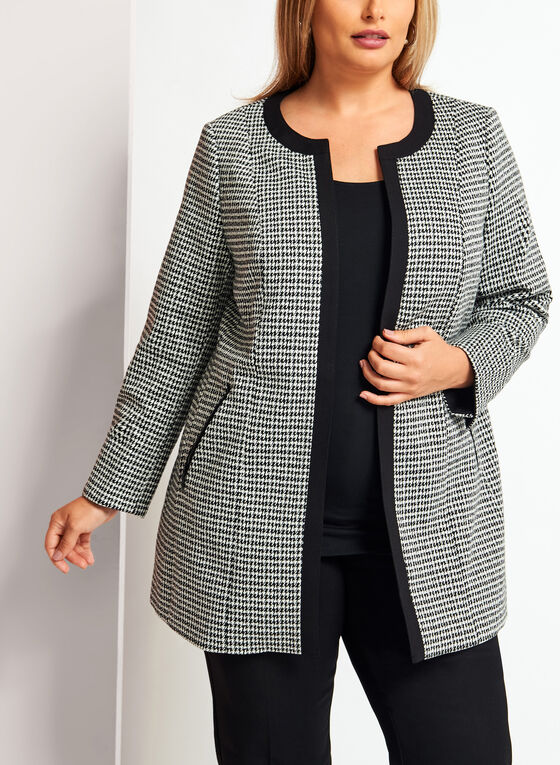 Long Open Front Houndstooth Jacket, Black, hi-res