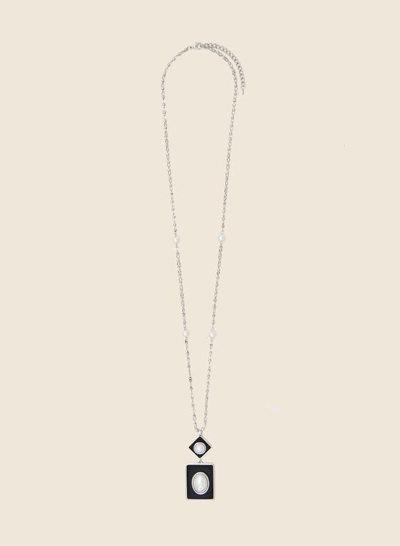 Geometric Pearl Pendant Necklace, Off White