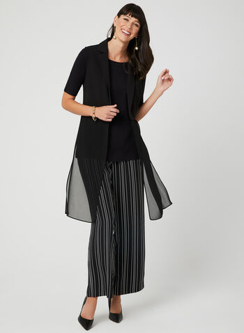 Veste sans manches bi-matière, Noir, hi-res
