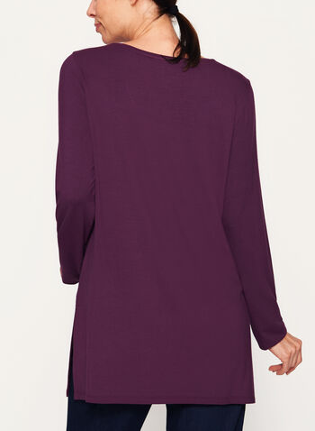 V-Neck Long Sleeve Top, Purple, hi-res