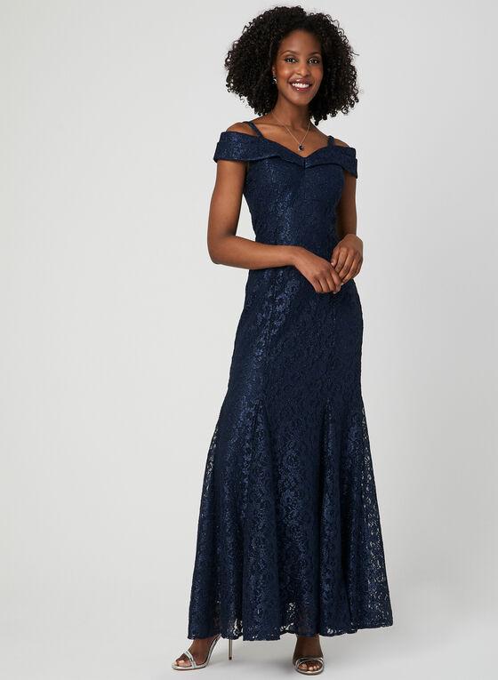 Robe sirène en dentelle pailletée, Bleu