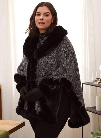 Faux Fur Trim Wrap, Black,  accessories, wrap, tweed, faux fur, fall winter 2021
