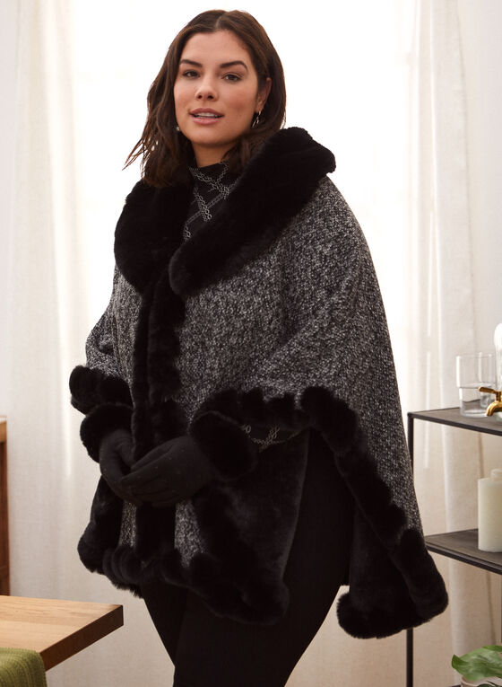 Étole en tweed et fausse fourrure, Noir