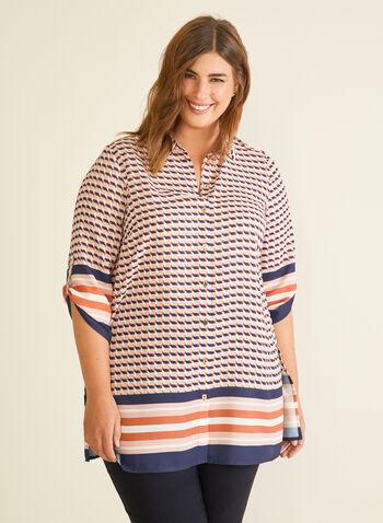 Blouse motif abstrait et ourlet rayé, Multi,  blouse, abstrait, rayures, manches 3/4, crêpe, fente, printemps été 2020