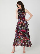 Floral Print Tiered Maxi Dress, Purple, hi-res