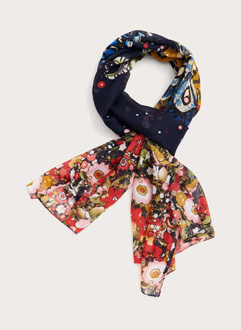 Butterfly Floral Print Scarf, Blue, hi-res