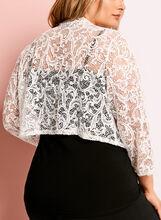 3/4 Sleeve Sequin Lace Bolero, Off White, hi-res