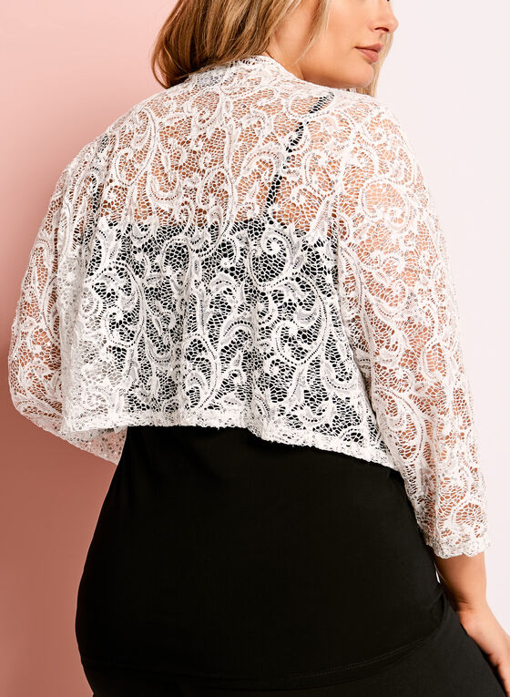 3/4 Sleeve Sequin Lace Bolero, Off White, hi-res