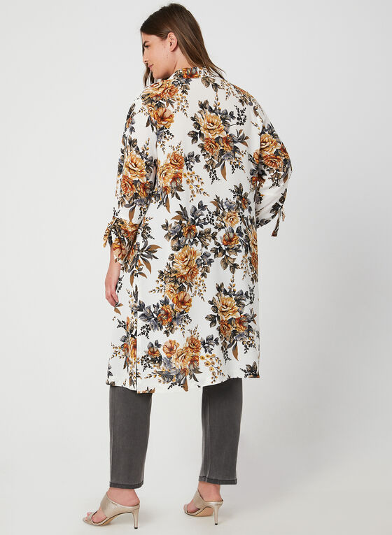 Floral Print Duster Jacket, White