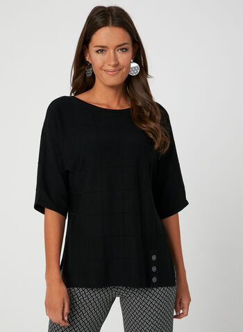 Windowpane Elbow Sleeve Top, Black, hi-res,  dolman sleeves, short sleeves, boat neck, knit, fall 2019, winter 2019