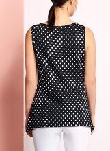 Sleeveless Peplum Dot Print Top, Black, hi-res