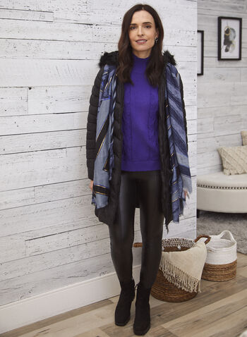 Vex - Quilted Vegan Down Coat, Black,  fall 2021, outerwear, coat, Vex, quilted, vegan down, faux down, down coat, stand collar, faux fur, detachable hood, hood, pockets, faux fur lining, chevron