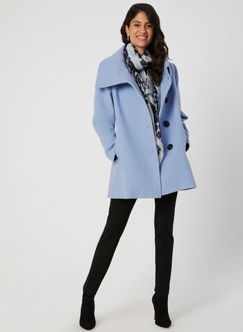 Oversized Collar Wool-Like Coat, Blue,  fall coat, wool, envelope collar, side pockets, coat, large buttons, fall 2019