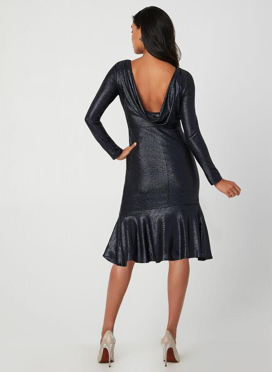 Long Sleeve Metallic Dress, Blue