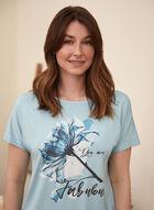 Floral Print Slogan Tee, Blue