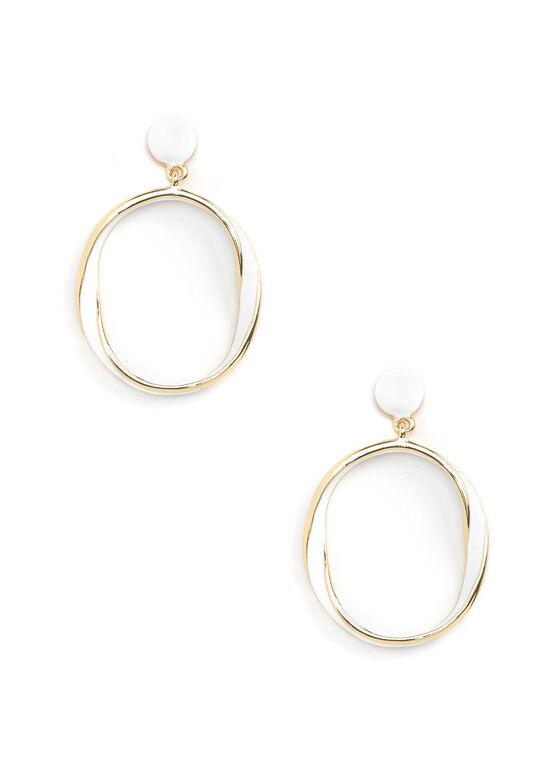 Open Circle Earrings, White, hi-res