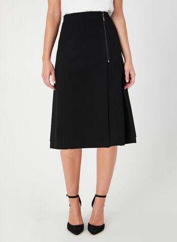 A-Line Skirt, Black,  zipper detail, a-line, short skirt, stretchy, fall 2019, winter 2019