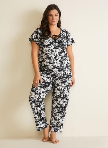 Floral Print Pyjama Set, Black,  pyjamas, set, 2-piece, floral print, pull-on, short sleeves, fall winter 2020