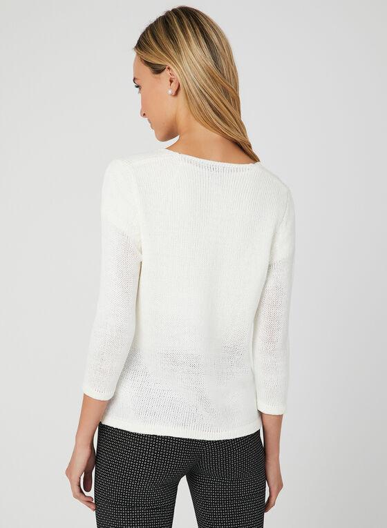 Alison Sheri - Cardigan en tricot avec lien à nouer, Blanc, hi-res