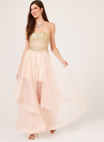 Sweetheart Neck Layered Ball Gown , Pink, hi-res
