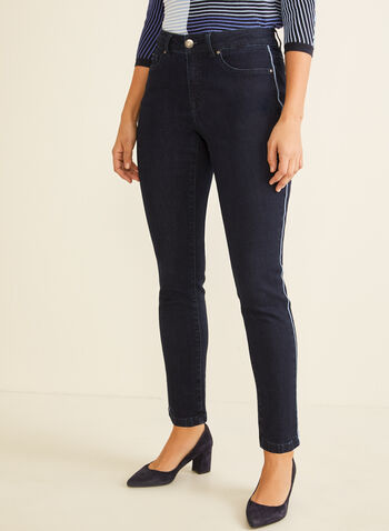 Jeans étroit à bandes contrastantes, Bleu,  printemps été 2020, jeans, denim, jambe étroite, étroit, taille haute, poches