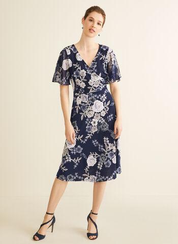 Robe cache-cœur à motif floral, Bleu,  printemps été 2020, robe, cache-coeur, manches courtes, ajusté, évasé, mousseline, jersey, encolure en V