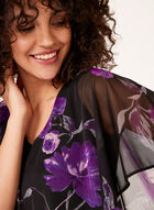 Floral Print Poncho Top , Purple, hi-res