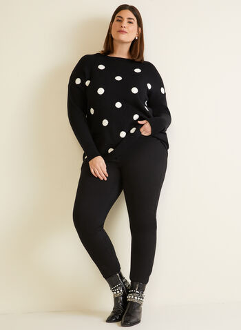 Sweater With Large Polka Dots, Black,  fall winter 2020, sweater, knit, long sleeves, dolman sleeves, polka dot, holiday