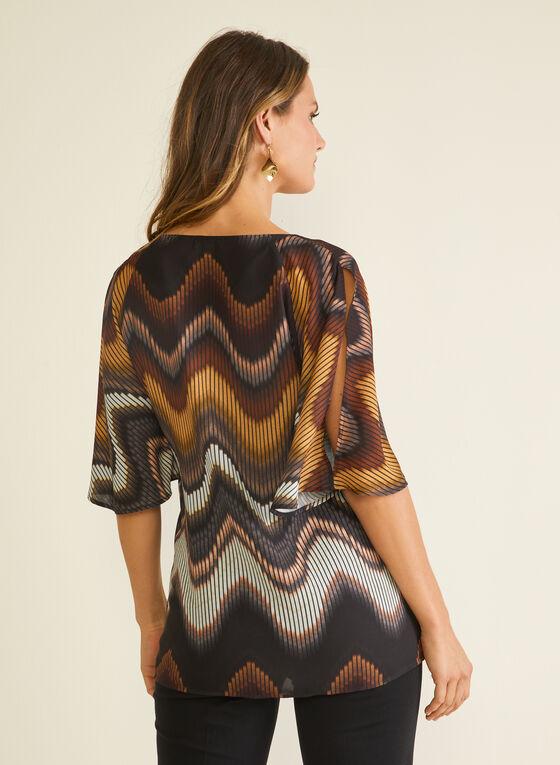 Abstract Print Kimono Sleeve Blouse, Brown
