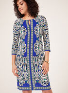 Robe droite à motif tapisserie, Bleu, hi-res