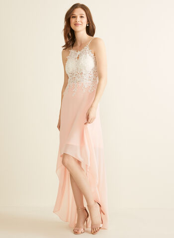 Crystal Embroidered Crepe Dress, Pink,  spring summer 2020, crepe fabric, halter, spaghetti straps, built-in bra, high-low hem