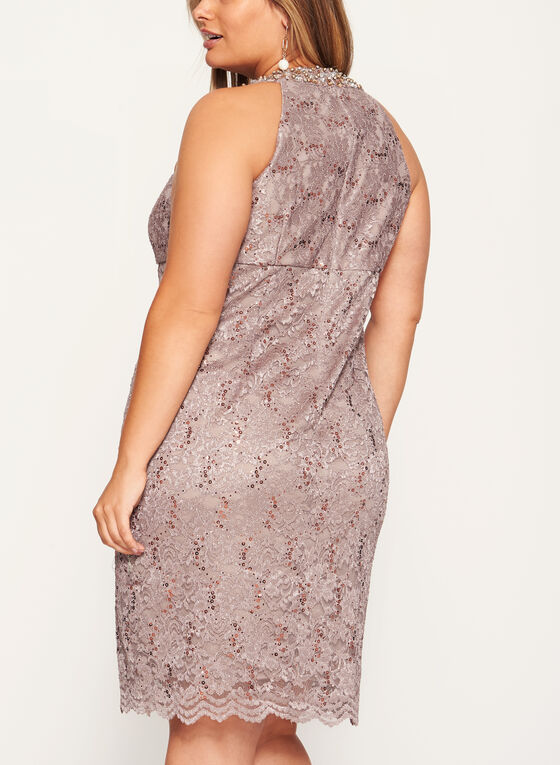 Embellished Cleo Neck Lace Dress, Silver, hi-res