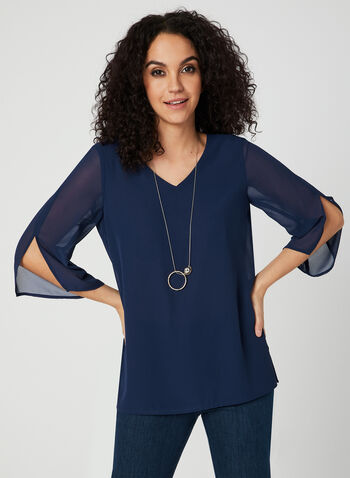 ¾ Sleeve Crepe Top, Blue, hi-res,  Spring 2019