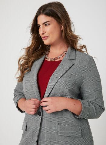 Notch Collar Blazer, Black, hi-res,  plaid print, prince of wales print, ¾ sleeves, 3/4 sleeves, notch collar, 1 button, fall 2019, winter 2019