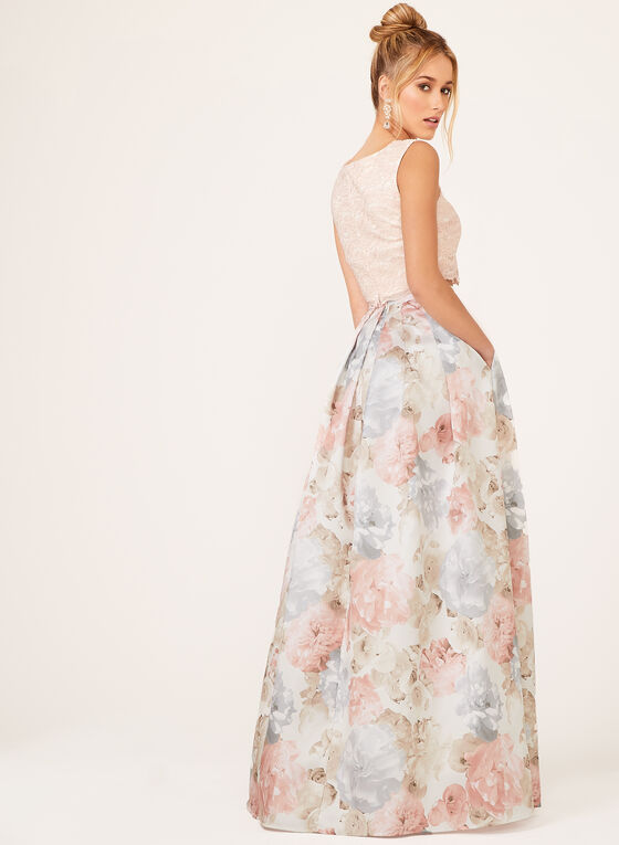 Morgan & Co. - Robe avec haut court en dentelle et jupe fleurie, Rose, hi-res