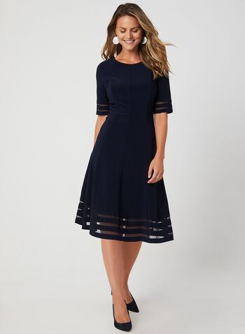 Illusion Fit & Flare Dress, Blue, hi-res,  mesh, lined, elbow sleeves, short sleeves, panelled, fall 2019, winter 2019