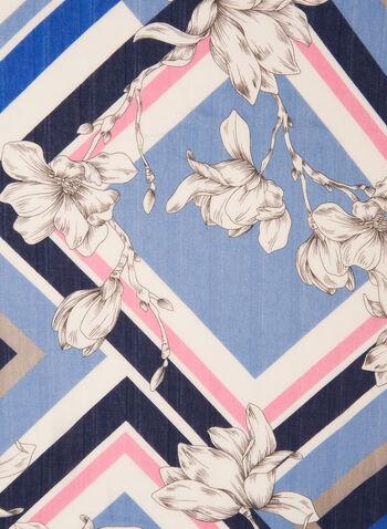 Geometric & Floral Lightweight Scarf, Blue,  scarf, lightweight, floral, geometric, multicolour, contrast, fringe, spring summer 2020