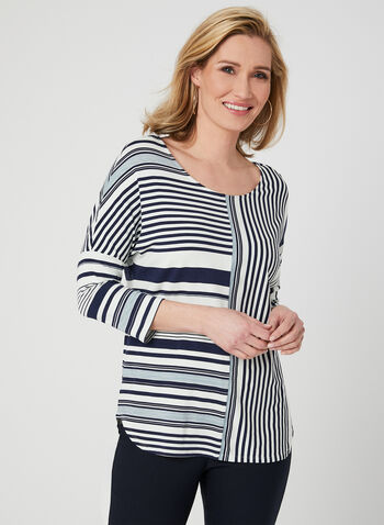 Linea Domani - Stripe Print Top, Blue, hi-res