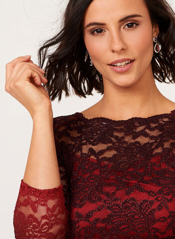 Ombré Glitter Lace Dress, Red, hi-res