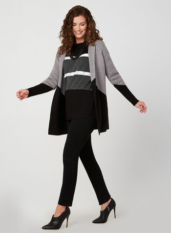 Colour Block Cardigan, Black,  fall winter 2019, long sleeves, cardigan, knit, open front